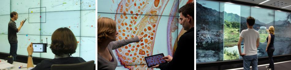 Ein Streifen von drei Fotos, die jeweils mehrere Personen bei der Arbeit an einer Displaywand zeigen.