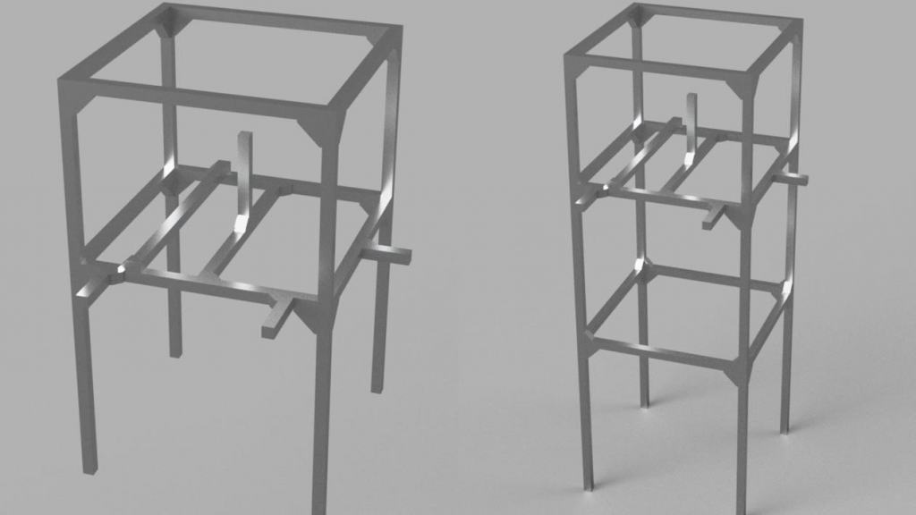 Metal section frame as a base for the TimeBOMB game station.